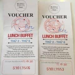 2 vé voucher dùng bữa trưa miễn phí tại Buffet Hoàng Yến Premier tù thứ 2 đến thứ 6! Thời hạn voucher đến ngày 31-03-2017. Mọi thắc mắc xin vui lòng inbox cho mình ạ! Cám ơn mọi người đã quan tâm!