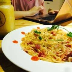 Spaghetti kimchi with bacon của Linh Minion tại Cochee Coffee & Cheesy Food - 2699396
